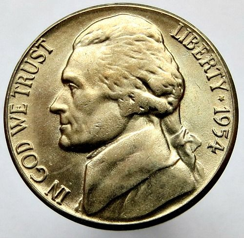 United States - 5 Cents 1954 'Jefferson Nickel' (S over D