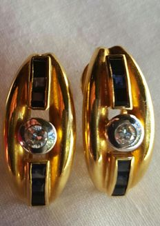 Gold earrings with 2 diamonds and 12 sapphires - No reserve price