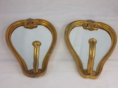 """Antique pair of framed wall mirrors """"Caltagloria"""" with candle holder , gold leaf, late 1800s"""