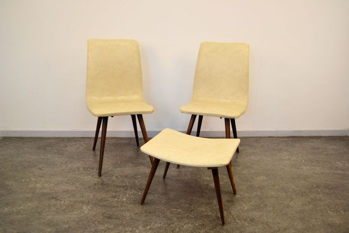 Unknown Designer   Set Of 2 1950s Chairs + Matching Ottoman