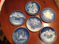 "Lot of 6 large original ""B&G"" Kjobfnhavn plates limited edition Cristmas Night"