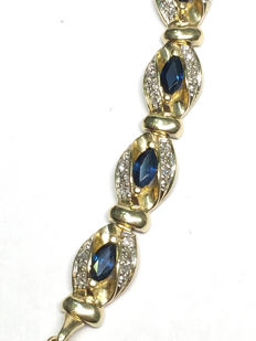Diamond and sapphire bracelet of 3.60 ct in total, Top Wesselton.