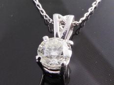White gold solitaire pendant with 1 brilliant cut diamond of 0.32 ct ***no reserve***