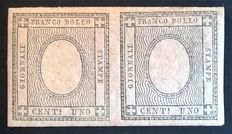 Sardinia, 1861 - Printed 1 cent, light grey, Sassone variety: 19h, horizontal pair.