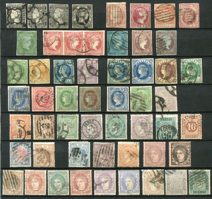 Spain 1850/72 - Small collection classics