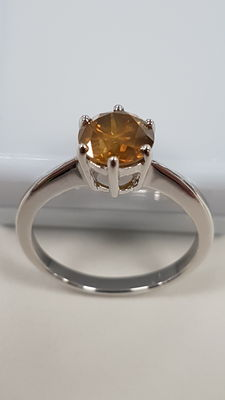 14kt Gold ring with round diamond 1.25 Cts SI1 - size 6,5