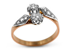 18kt Pink Gold 'Toi et Moi' Diamond Ring in Excellent Condition