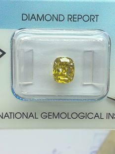 1.68 ct cushion natural fancy, colour intense yellow SI2
