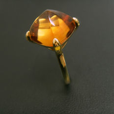 Natural Citrine ring 18K yellow  gold with yellow Diamonds
