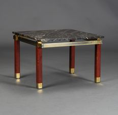 Bendixen design - coffee table with marble top and brass / teak frame.