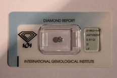 0.31 ct brilliant cut diamond, D IF