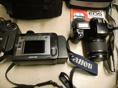 CANON EOS1000F + KAISER 58mmUV lens and a SHARP VLE30S Camcorder