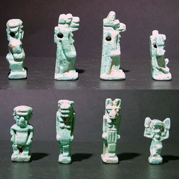 Four Egyptian mould made amulets depicting Pateikos, Taweret, Anubis and Shu - 2.4-3.4 cm (4)