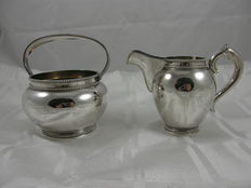Two piece silver cream set with Pearl edge, Aubert, voorschoten, late 20th century
