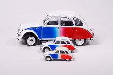 Solido / Norev - Scale 1/18-1/64 - Lot with 3 models: 3 x Citroen 2cv ''cocorico'' 1986 white-blue-red