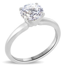 Solitaire engagement ring in white gold, 14 kt, with 0.90 ct diamond F/VS2