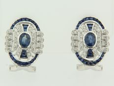 14 kt white gold ear studs in Art Deco style with sapphire and 80 octagon cut diamonds, size 1.8 x 1.3 cm