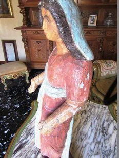 Polychrome wooden sculpture of Madonna, 18th century, Lombard cultural origin