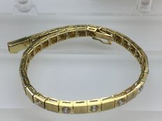Bracelet set with 19 zirconia, 14 kt yellow gold