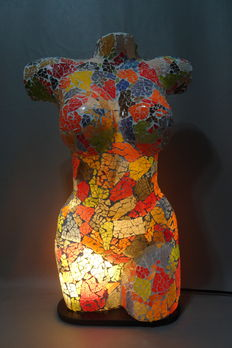 Lighting; Lamp in the shape of the torso of a naked woman, made of mosaic glass pieces-21st century