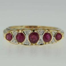 18 kt bi0colour gold ring set with brilliant cut ruby and diamond - ring size 17.75 (56)