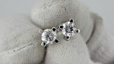 1.00 ct round diamond stud earrings 14 kt white gold *** NO RESERVE PRICE ***