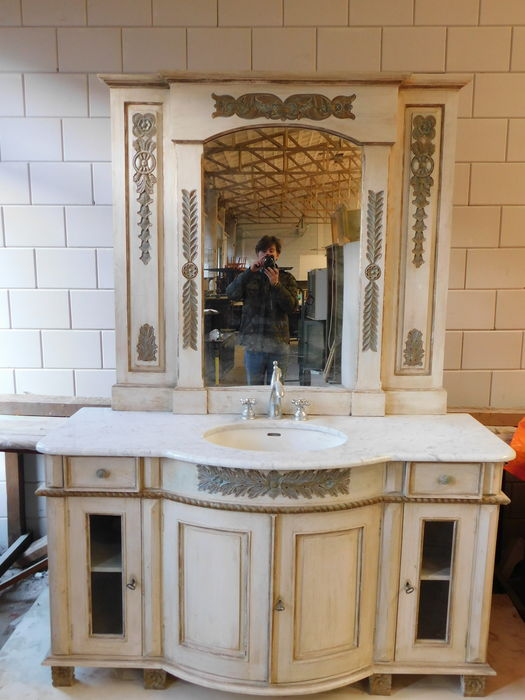 French bathroom cupboard + mirror in neoclassical style, France, 1970s
