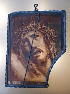 Image of Jesus Christ on hand-painted glass, restored - year 1704