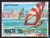 Postage Stamps - Malta - Castle Melieha and surfers