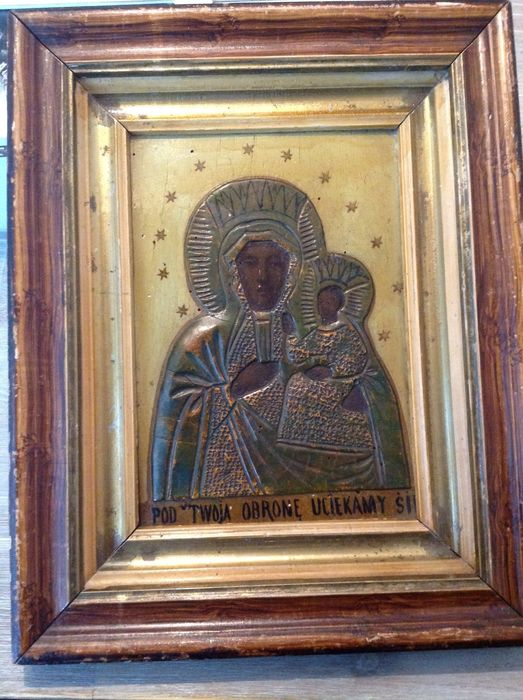 Black Madonna icon - Poland - 19th century