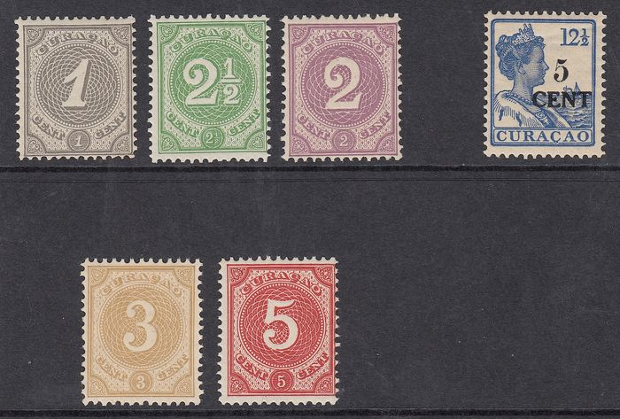 Curaçao 1889/1918 – Number and help stamp type II – NVPH 13/17 + 74a