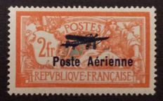 France 1927 – 2 francs orange and green-blue, broken corner of the escutcheon, signed Calves and Baudot, Baudot certificate – Yvert no. 1a