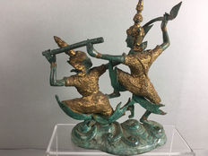 Bronze statue of 2 dancers – Thailand – late 20th century