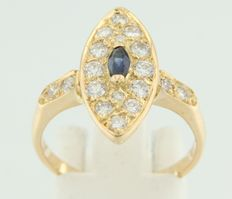 Yellow gold ring, 18 kt, with central set marquise shape cut sapphire and entourage 18 brilliant cut diamonds