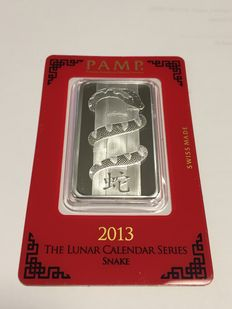Switzerland - Pamp Suisse - 1 ounce 999 silver bar - Lunar year of the Snake - 2013