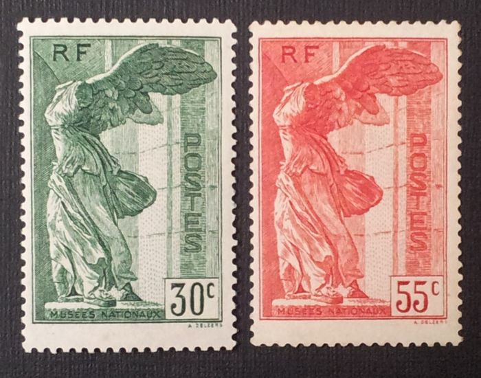 France 1937 – Winged Victory of Samothrace, 30 c. green and 55 c. red – Yvert no. 354 and 355