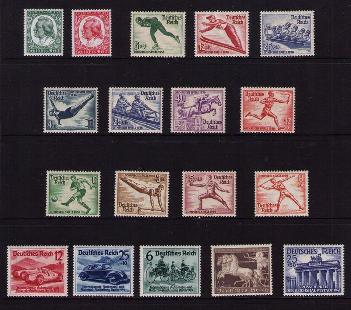 Germany 1935/1940 - A small collection Michel 554/5, 600/2, 609/16, 686/8, 747 and 803