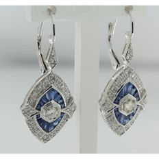 14 kt white gold dangle earrings set with old Amsterdam cut and octagon cut diamonds