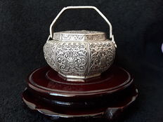 A white metal hand-warming burner -  China - late 20th century