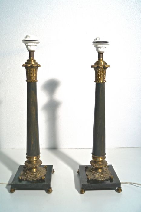 A pair of bronze and marbled metal table lamps, in Empire style - France, second half of the 20th century