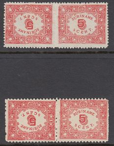 Surinam 1909 - Help edition tête-bêche pairs - NVPH 58a and 59a.