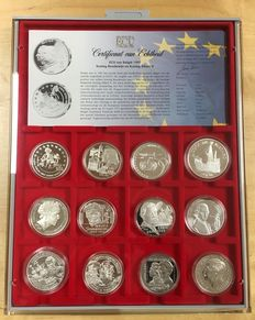 "Europe – ecu medals 1996/1997 ""The official ecu collection"" (12 different ones) in coffer."