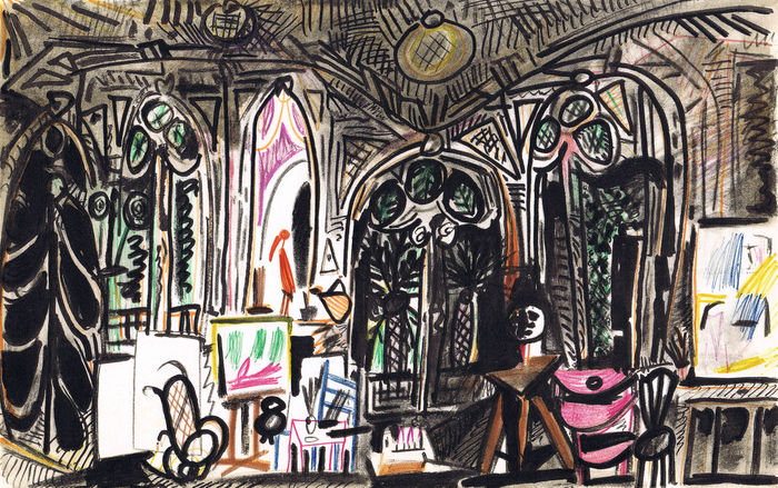 Pablo Picasso (after) - Interior of Picasso's Villa I
