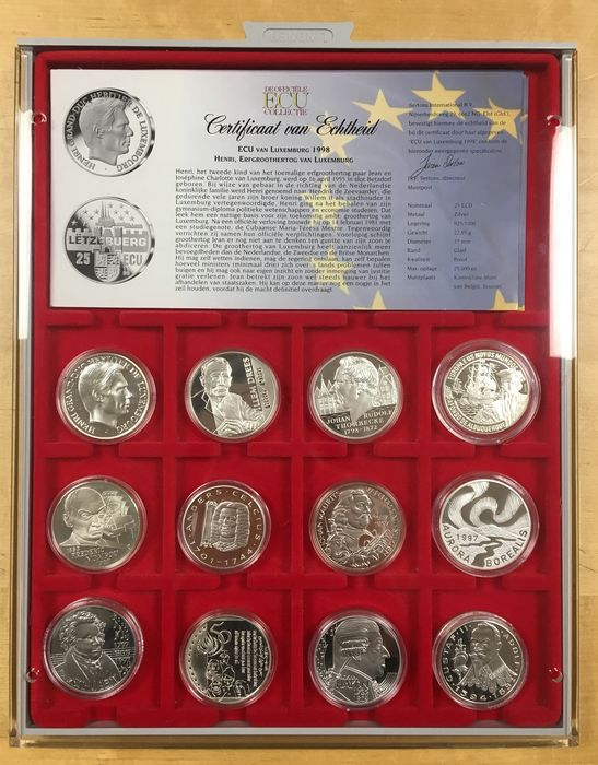 Europe – ECU tokens 1997/1998 'The official ECU collection' (12 pieces) – silver in cassette
