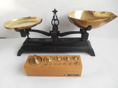 Scales with complete block of Dutch, brass weights-20th century