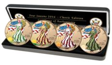 United State - 4 x $1 - 2016 - 4 seasons - silver finished in 999 gold