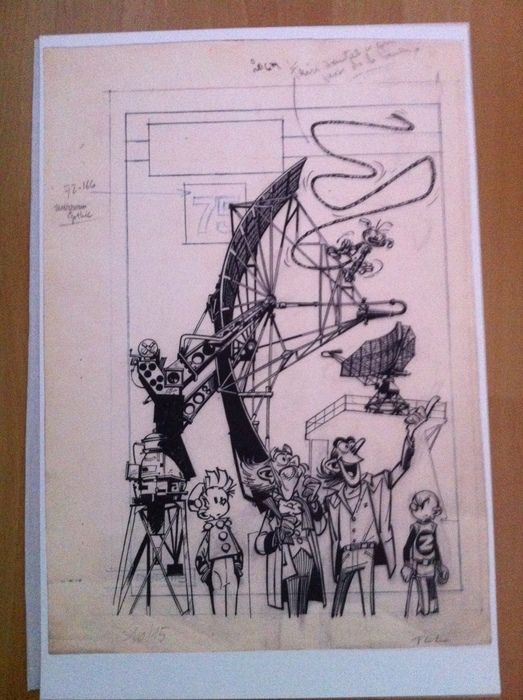 Franquin - Litho facsimile original cover - collection album Spirou no. 75 (2013)