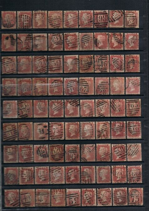Great Britain Queen Victoria - Collection of 334 Penny Red Plates, Stanley Gibbons 43