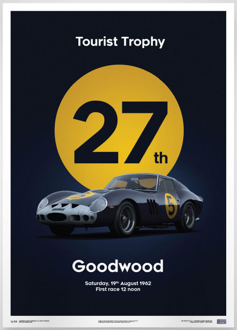 Ferrari Collection fine art print - Ferrari 250 GTO - Goodwood - Giotto Bizzarrini team - Dark Blue 1962  - 70 x 50 cm