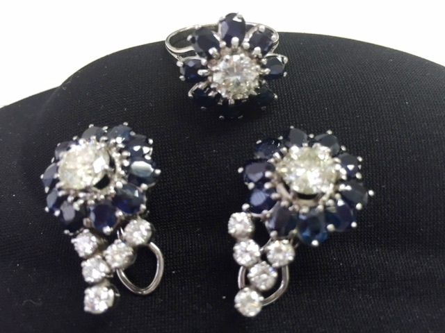5.82Carat Diamondַַַַ & Blue Sapphhire Earrings And Ring Set in 18K White Gold